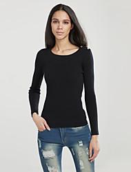 Damen Standard Pullover-Arbeit / Urlaub Niedlich / Chinoiserie Solide Blau / Schwarz Rundhalsausschnitt Langarm Kaschmir Frühling / Winter