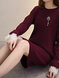 real shot - langen Abschnitt solide Absicherung Pullover Kleid neue Herbst und Winter Hornhülse lose Pullover