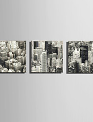 E-HOME Stretched Canvas Art Gray City Construction  Decoration Painting One Pcs