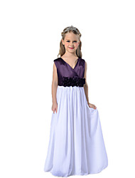 A-line Floor-length Flower Girl Dress - Organza V-neck with Lace