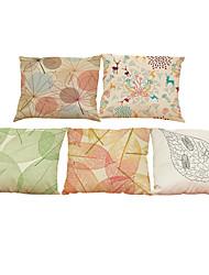 5 PC Lino Natural/Orgánico Funda de almohada Cobertor de Cojín,Sólido Con Texturas A cuadros FloralRetro Tradicional/Clásico Reforzar