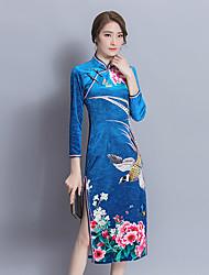 longue section signe banquet cheongsam hiver 2017 nouveau printemps longue robe de velours robe de la mère costume