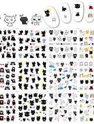 1pcs 12Design New Nail Art Sticker Lovely Cartoon Cat Expression Design Nail Cute Water Transfer Decals Lovely Nail Art Tips A1333-1344