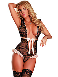 Women's Plunging Ruffled Lace Teddy