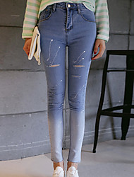 Sign fall and winter 2016 new Korean Institute of wind gradient paint hole jeans feet pants flash point