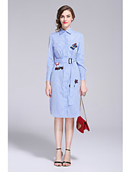 MMLJ Casual/Daily Simple Cute A Line DressFloral Embroidered Shirt Collar Knee-length Long Sleeve Cotton Blue Spring Winter Mid Rise