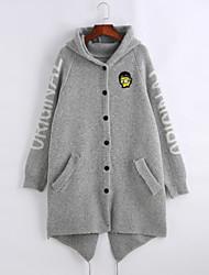 Damen Standard Strickjacke-Ausgehen Lässig/Alltäglich Einfach Solide Schwarz Grau V-Ausschnitt Langarm Polyester Herbst Winter Mittel