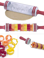 Progressive Roll and Store Polling Pin Non-Stick Rolling Pin with 9 Packs Cake Moulds Mold Roll and Store 46cm Roller Stick BPA Free Decorating Tools