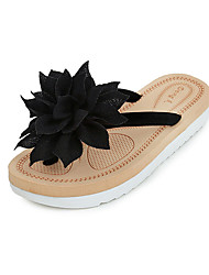Women's Slippers & Flip-Flops Comfort PU Spring Summer Casual Dress Comfort Flower Flat Heel White Black Green Flat