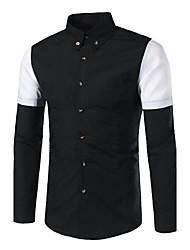 Camisa Social Casual Simples Primavera,Estampa Colorida Branco Preto Algodão Colarinho de Camisa Manga Longa