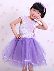 Children's Ballet Dance Dress Performance Polyester/Cotton Splicing 1 Pieces Short Sleeve Dress Purple Kid's Dancewear