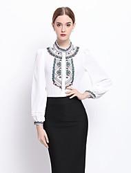 Dámské Výšivka Jdeme ven Společenské Práce Vintage Cikánský Sofistikované Košile-Jaro Polyester Rolák Dlouhý rukáv Bílá Černá Střední