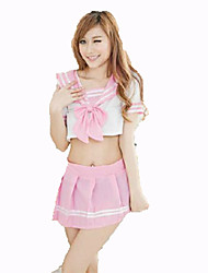 Cosplay Costumes Student/School Uniform Festival/Holiday Halloween Costumes White Pink Solid Carnival Female Nylon