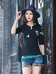 New women's national wind embroidery Slim sleeve v-neck cotton T-shirt can not ball Qinfu