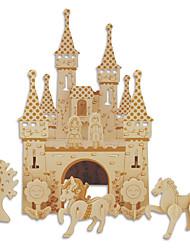Puzzles Puzzles en bois Blocs de Construction Jouets DIY  Château Bâtiment Célèbre Architecture Chinoise Maison 1 Bois IvoireMaquette &