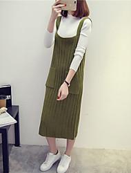 знак карман сплошной цвет вязать свитер бретели платье пассивом женщин свитер платье
