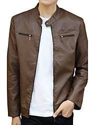 Men's Going out Casual/Daily Work Simple Street chic Active Leather Jacket,Solid Stand Long Sleeve Fall Winter Wash separatelyCotton