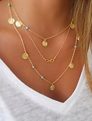 Collier multi rangs Bijoux Forme Ronde Infini Alliage Original Pendant Couche double Mode bijoux de fantaisie Bijoux Pour Anniversaire