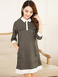 знак рукав полосатой рубашке новых женщин 2017&# 39, S большой размер платье юбка прямая