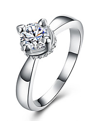 Shiny Ring Solitaire Ring Inlaid CZ Zirconia Crystal Jewelry Gem Stone Ring High Quality Fashion Women Accessories Wedding Rings
