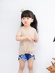 Casual/Daily Beach Holiday Solid Tee,Cotton Summer Short Sleeve Regular