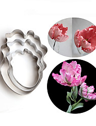 3Pcs/Set Parrot Tulip Petal Flower Cookie Cutter Cake Decorating Tools Fondant  Candy Cupcake Biscuit Molds