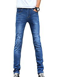 Men's Slim Jeans PantsCasual/Daily Simple Solid Mid Rise Button Cotton Polyester Micro-elastic All Seasons DG-2081