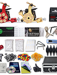 Complete Tattoo Kit 2 Cast Iron Machines Liner & Shader 2 Tattoo Machines LCD power supply Inks Shipped Separately
