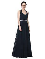 A-Line Halter Floor Length Chiffon Bridesmaid Dress with Beading Sash / Ribbon Pleats by LAN TING BRIDE®
