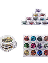 12 Color Full Nail Tips Optional Small Square Boxed Nestle Symphony of Transparent Rhombus Small Sequins