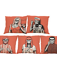 Set of 5 Personality skeleton  pattern  Linen Pillow Case Bedroom Euro Pillow Covers 18x18 inches  Cushion cover