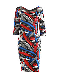 TS Women's Vintage / Simple / Street chic Geometric A Line / Bodycon Dress,Square Neck Knee-length Polyester / Spandex