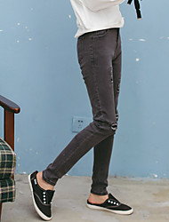 Kim lote japonês coreano pavilhão patch jeans feminino estiramento lápis calças slim nove pontos