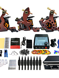 Kit de tatouage complet 3 machine x tatouage en alliage pour la doublure et l'ombrage 3 Machines de tatouage LCD alimentationEncres