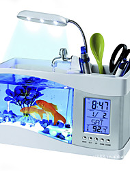 Mini Aquariums Background LED Light Clock With Switch(es) Artificial Plastic White