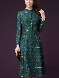 Gaine Robe Femme Décontracté / Quotidien Grandes Tailles simple,Imprimé Col Ras du Cou Midi Manches Longues Noir Vert NylonPrintemps