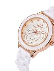 Relógio de Moda Quartzo Cerâmica Banda Branco Ouro Rose Branco Ouro Rose