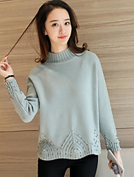 Sign # 4408 winter new collar cuffs hem beaded knit sweater hedging