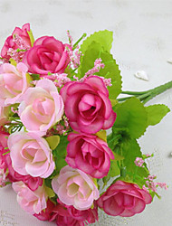 High Quality Artificial Flower Bright Color Rose Silk Flower for Wedding and Decorative