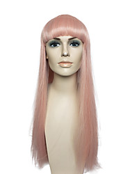 Pink Long Straight Wig Capless Costume Cosplay Wig Hairstyle Women Party Wig with Cap