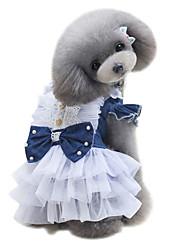 Perros Vestidos Azul Ropa para Perro Verano Británico Adorable Moda Clásico