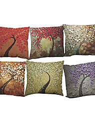Set of 6 Creative Oil painting three-dimensional tree  pattern  Linen Pillow Case Bedroom Euro Pillow Covers 18x18 inches Cushion cover