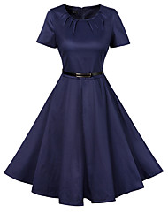 Formal Party Vintage A Line Sheath Swing Dress,Print Color Block Pleated Round Neck Midi Short Sleeve Cotton RayonBlue Pink