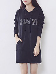 Sign autumn Korean version was thin loose hooded letter embroidery long section of flash sweater female Nett