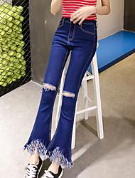 знак загрузки вырезать джинсы женские корейский тонкий талии брюки сексуальные голубые бахромой края расклешенные брюки