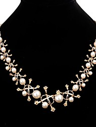 Europe and the United States big name temperament pearl metal flower sweater chain necklace 0453#