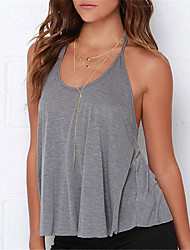 Women's Casual/Daily Sexy Summer Tank Top,Solid Round Neck Sleeveless Cotton Polyester Medium
