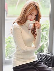 segno femminile a collo alto pullover tunica sottile colore solido maglia della camicia toccare il fondo selvatici