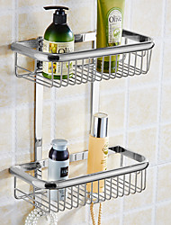 Golden Brass Bathroom Shelves 2-Tier Bathroom Storage Basket Wall Mount Bathroom Shelf