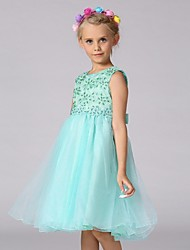 A-line Knee-length Flower Girl Dress - Organza Jewel with Bow(s) Embroidery Sequins